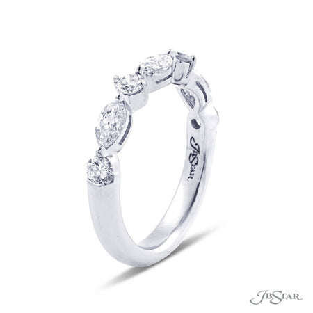 Beautiful diamond wedding band featuring 3 marquise diamonds and 4 round diamonds in an alternating shared prong setting. Handcrafted in platinum. [details] Stone Information SHAPE TYPE WEIGHT Marquise Round Diamond Diamond 0.62 ct. 0.43 ct. [enddetails] | JB Star 5196-001 Anniversary & Wedding