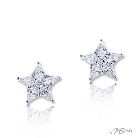 Gorgeous diamond studs in a star design featuring round and kite diamonds. Handcrafted in pure platinum. [details] Stone Information SHAPE TYPE WEIGHT Round Diamond 0.14 ctw. Kite Diamond 1.94 ctw. [enddetails] | JB Star 5201-001 Earrings