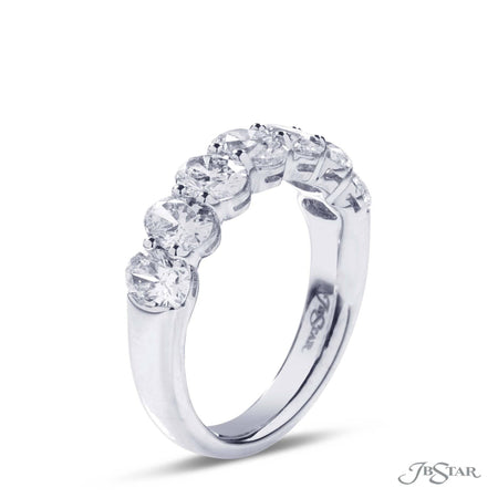 Stunning diamond band featuring 7 perfectly matched oval diamonds in a shared prong setting. Handcrafted in platinum. [details] Stone Information SHAPE TYPE WEIGHT Oval Diamond 2.28 ctw. [enddetails] | JB Star 5206-001 Anniversary & Wedding