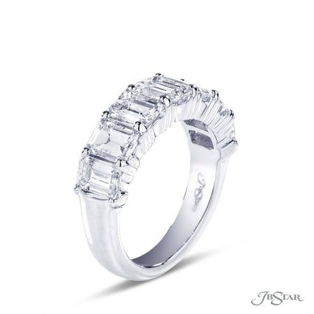 Gorgeous diamond wedding band featuring 7 perfectly matched emerald cut diamonds in a shared prong setting. Handcrafted in platinum. [details] Stone Information SHAPE TYPE WEIGHT Emerald Diamond 4.40 ctw. [enddetails] | JB Star 5212-001 Anniversary & Wedding