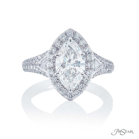 Platinum 2.00 ct Marquise Diamond Engagement Ring with Micro Pave Halo and Side Diamonds 5217-001