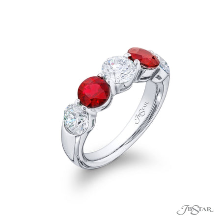 5221-004 | Ruby & Diamond Band 1.94 ctw. Round Alternating Design Side View