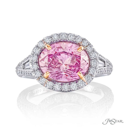 Dazzling padparadscha and diamond ring featuring a stunning 5.44 ct. certified