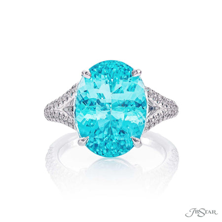 Magnificent paraiba and diamond ring featuring a 8.38 ct. oval paraiba showcased by a split shank micro pave setting. Handcrafted in pure platinum. [details] Center Stone(s) SHAPE TYPE WEIGHT Oval Paraiba 8.38 ct. Stone Information SHAPE TYPE WEIGHT Round Diamond 0.54 ctw. [enddetails] | JB Star 5227-012 Precious Color Rings