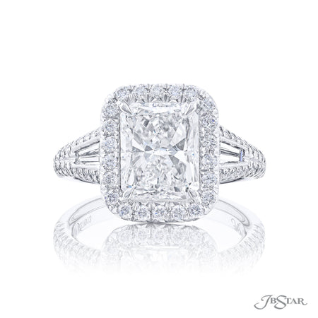 Platinum 3.01 ct Radiant Cut Diamond Engagement Ring Micro Pave Halo 5227-013