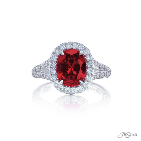 Stunning ruby and diamond ring featuring a stunning certified 3.11 ct. Burmese oval cut ruby embraced by tapered baguette diamonds in a micro pave setting. Handcrafted in pure platinum. [details] Center Stone(s) SHAPE TYPE WEIGHT Oval Ruby 3.11 ct. Notes: CDC Stone Information SHAPE TYPE WEIGHT Tapered Baguette Diamond 0.32 ctw. Round Diamond 0.80 ctw. [enddetails] | JB Star 5227-014 Precious Color Rings