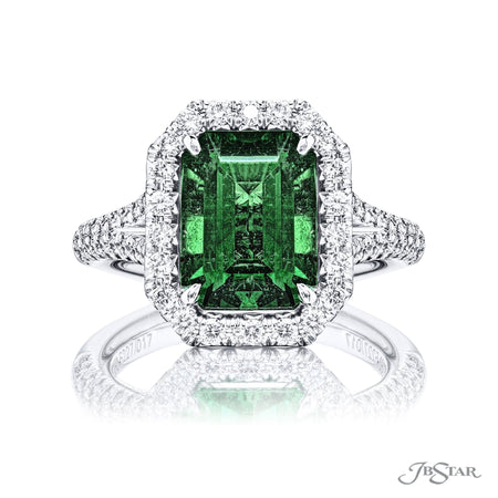 5227-017 | Emerald Engagement Ring 3.0 ct. Emerald Cut certified Front View