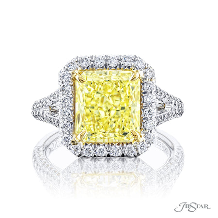 5227-001 | Fancy Yellow Diamond Engagement Ring Radiant Cut 3.11 ct. Front View