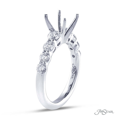 Beautiful diamond semi-mount featuring 8 brilliant round diamonds in a shared prong setting. Handcrafted in pure platinum. [details] Stone Information SHAPE TYPE WEIGHT Round Diamond 1.05 ct. [enddetails] | JB Star 5229-002 Semi Mount Settings