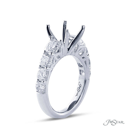 Dazzling diamond semi-mount featuring 8 cushion cut diamonds in a shared prong setting. Handcrafted in pure platinum. [details] Stone Information SHAPE TYPE WEIGHT Cushion Diamond 2.66 ctw. [enddetails] | JB Star 5239-001 Semi Mount Settings