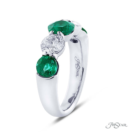Dazzling emerald and diamond wedding band featuring 3 round emeralds and 2 round diamonds in an alternating shared prong setting. Handcrafted in pure platinum. [details] Stone Information SHAPE TYPE WEIGHT Round Round Emerald Diamond 1.71 ctw. 1.13 ctw. [enddetails] | JB Star 5240-002 Anniversary & Wedding