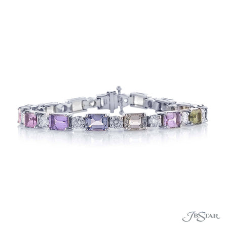 Magnificent sapphire and diamond bracelet featuring exquisite multi-colored natural