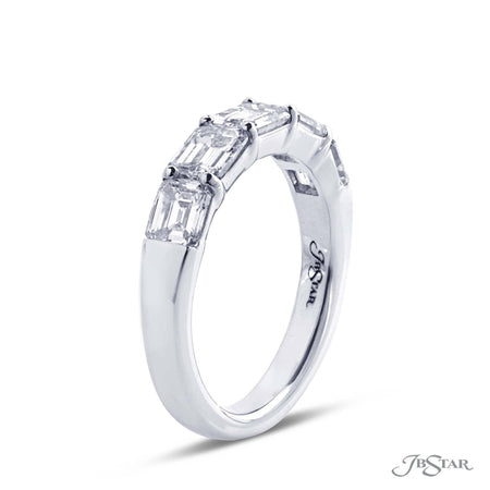 Dazzling diamond wedding band featuring 5 perfectly matched emerald cut diamonds in a shared prong setting. [details] Stone Information SHAPE TYPE WEIGHT Emerald Diamond 2.98 ctw. [enddetails] | JB Star 5244-001 Anniversary & Wedding
