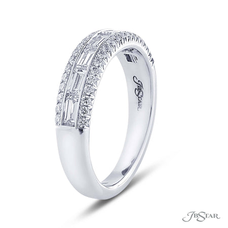 Beautiful diamond wedding band featuring 7 straight baguette diamonds in a center channel surrounded in round diamond micro pave. Handcrafted in pure platinum. [details] Stone Information SHAPE TYPE WEIGHT Straight Baguette Round Diamond Diamond 0.70 ctw. 0.25 ctw. [enddetails] | JB Star 5248-003 Anniversary & Wedding
