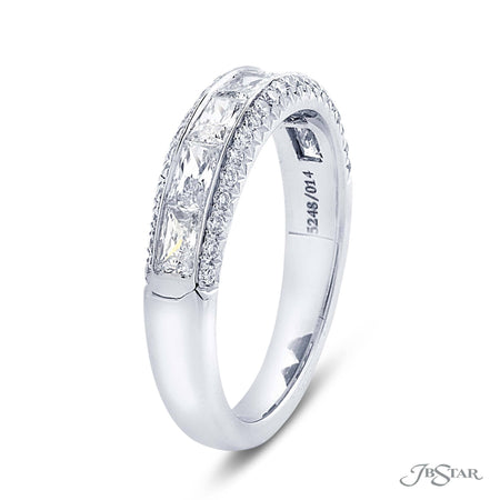 Gorgeous diamond wedding band featuring a center channel of JB Star cut diamond surrounded by micro pave. Handcrafted in pure platinum. [details] Stone Information SHAPE TYPE WEIGHT JB Star (Baguette) Diamond 0.83 ctw. Round Diamond 0.22 ctw. [enddetails] | JB Star 5248-014 Anniversary & Wedding