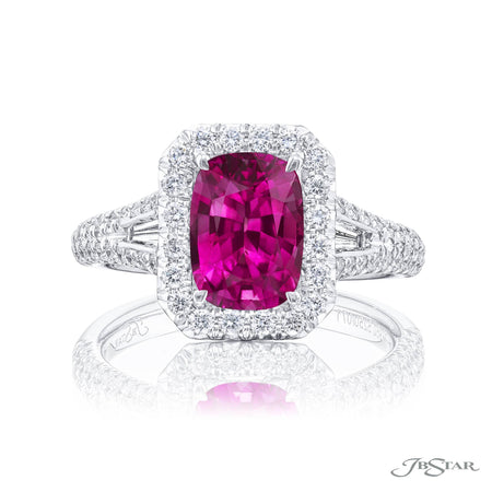 Dazzling pink sapphire and diamond ring featuring a 3.54 ct. cushion cut pink sapphire in a micro pave setting with tapered baguette diamonds. Handcrafted in pure platinum. [details] Center Stone(s) SHAPE TYPE WEIGHT Cushion Pink Sapphire 3.54 ct. Notes: GIA Stone Information SHAPE TYPE WEIGHT Round Tapered Baguette Diamond Diamond 0.74 ctw. 0.17 ctw. [enddetails] | JB Star 5250-009 Precious Color Rings