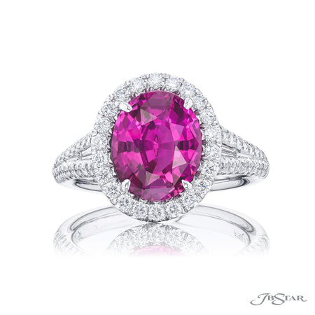5250-013 | Pink Sapphire & Diamond Ring 4.02 ct. Oval Micro Pave Halo