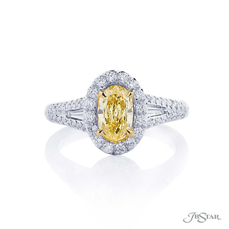 0.75 Fancy Yellow Oval Diamond Engagement Ring