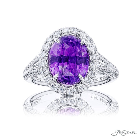5250-022 | Purple Sapphire & Diamond 4.52 ct. Oval CDC Certified Front View