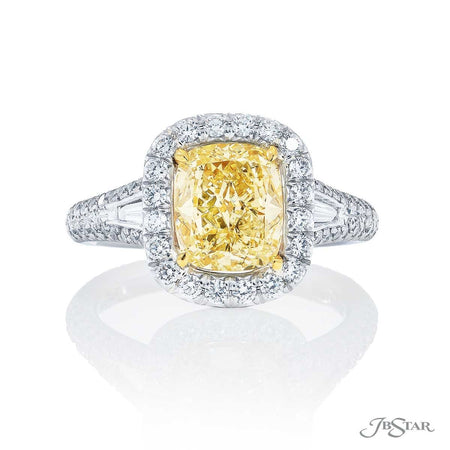 2.01 ct Fancy Yellow Cushion Cut Diamond Engagement Ring with Micro Pave Setting in Platinum and 18K Yellow Gold 5250-029
