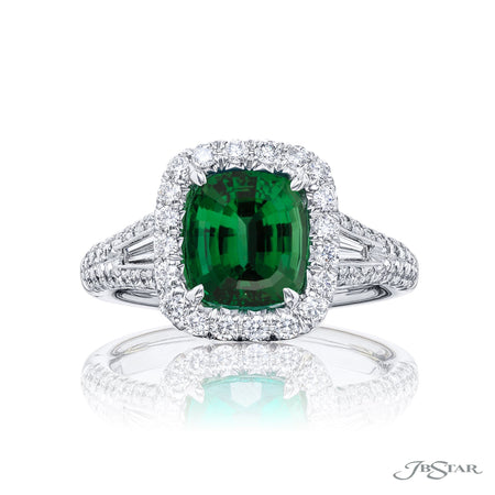 5250-032 | Emerald & Diamond Ring Cushion-Cut 1.76 ct. Micro Pave Front View