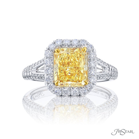 Gorgeous fancy yellow diamond ring featuring a 2.38 ct. GIA certified fancy yellow radiant-cut diamond embraced by tapered baguette diamonds. Handcrafted in pure platinum and 18 KY gold. [details] Center Stone(s) SHAPE TYPE WEIGHT CLARITY Radiant Diamond 2.38 ct. SI1 Notes: GIA Stone Information SHAPE TYPE WEIGHT Tapered Baguette Diamond 0.21 ctw. Round Diamond 0.60 ctw. Round Fancy Yellow Diamond 0.16 ctw. [enddetails] | JB Star 5250-046 Diamond Centers & Engagement