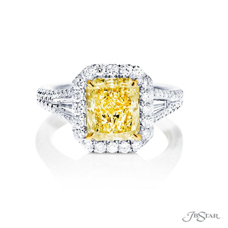 Stunning fancy yellow diamond engagement ring featuring a 2.34 ct. GIA certified radiant-cut fancy yellow diamond with tapered baguette in a micro pave setting. Handcrafted in pure platinum and 18KY gold. [details] Center Stone(s) SHAPE TYPE WEIGHT CLARITY Radiant Diamond 2.34 ct. SI1 Notes: GIA Stone Information SHAPE TYPE WEIGHT Tapered Baguette Diamond 0.29 ctw. Round Diamond 0.56 ctw. Round Fancy Yellow Diamond 0.10 ctw. [enddetails] | JB Star 5250-047 Diamond Centers & Engagement