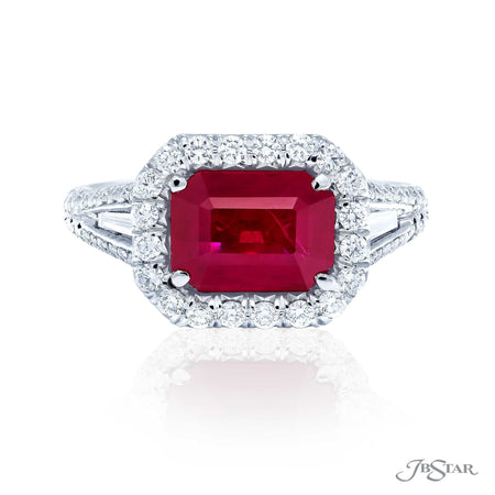 Stunning ruby and diamond ring featuring a 2.99 ct. certified emerald-cut Burma ruby in our east to west design, accompanied by tapered baguettes and micro pave. Handcrafted in pure platinum. [details] Center Stone(s) SHAPE TYPE WEIGHT Emerald Bruma Ruby 2.99 ct. Notes: CDC Stone Information SHAPE TYPE WEIGHT Tapered Baguette Round Diamond Diamond 0.27 ctw. 0.73 ctw. [enddetails] | JB Star 5250-052 Precious Color Rings