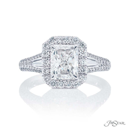 Platinum 1.50 ct Radiant Cut Diamond Engagement Ring Micro Pave Setting 5250-056