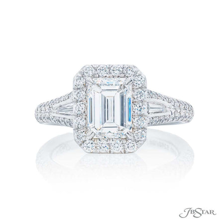 Platinum 1.60 ct Emerald Cut Diamond Engagement Ring in Micro Pave Setting 5250-057