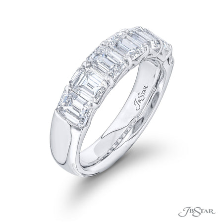 5257-004 | Diamond Wedding Band Emerald Cut 2.97 ctw. Shared Prong Side View