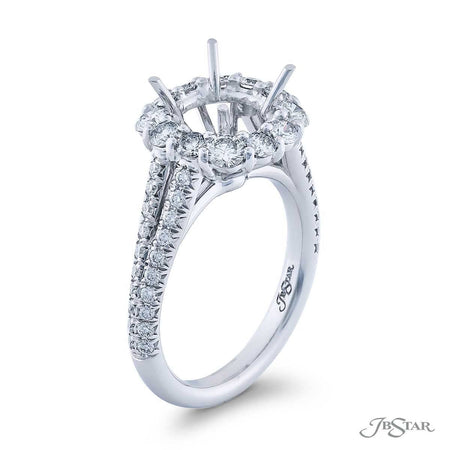 Gorgeous diamond semi-mount featuring 12 round diamonds in a halo setting. Handcrafted in pure platinum. [details] Stone Information SHAPE TYPE WEIGHT Round Diamond 1.26 ctw. [enddetails] | JB Star 5259-005 Semi Mount Settings