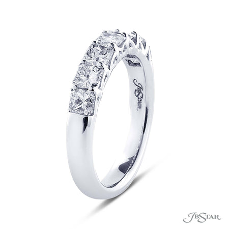 Dazzling diamond wedding band featuring 7 perfectly matched radiant cut diamonds in a shared prong setting. Handcrafted in pure platinum [details] Stone Information SHAPE TYPE WEIGHT Radiant Diamond 1.48 ctw. [enddetails] | JB Star 5261-003 Anniversary & Wedding