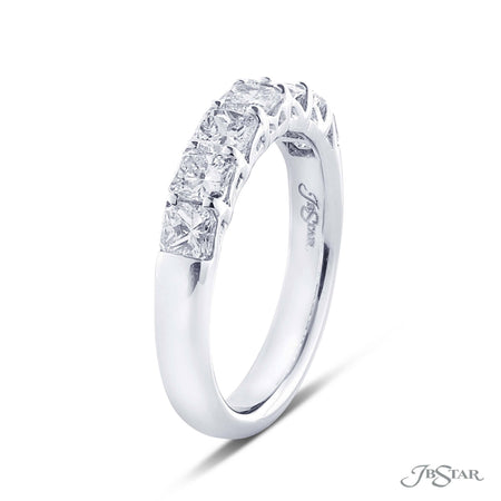 Dazzling diamond wedding band featuring 7 perfectly matched square emerald cut diamond in a shared prong setting. Handcrafted in pure platinum [details] Stone Information SHAPE TYPE WEIGHT Square Emerald Diamond 1.42 ctw. [enddetails] | JB Star 5261-002 Anniversary & Wedding