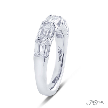 Beautiful diamond wedding band featuring 5 emerald cut diamonds in an east to west shared prong design. Handcrafted in pure platinum. [details] Stone Information SHAPE TYPE WEIGHT Emerald Diamond 2.57 ctw. [enddetails] | JB Star 5267-001 Anniversary & Wedding