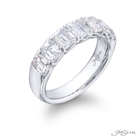 5270-001 | Diamond Wedding Band Emerald-Cut 2.05 ctw. Shared Prong Side View
