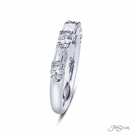 Dazzling diamond wedding band featuring emerald cut and round diamonds in an alternating east to west design. Handcrafted in pure platinum. [details] Stone Information SHAPE TYPE WEIGHT Emerald Diamond 0.88 ctw. Round Diamond 0.45 ctw. [enddetails] | JB Star 5274-003 Anniversary & Wedding