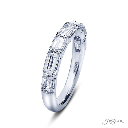 Gorgeous diamond wedding band featuring 7 emerald cut diamonds in our east to west design. Handcrafted in pure platinum. [details] Stone Information SHAPE TYPE WEIGHT Emerald Diamond 2.51 ctw. [enddetails] | JB Star 5275-002 Anniversary & Wedding
