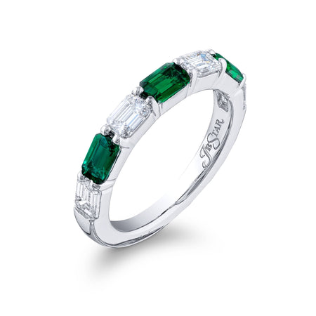 5275-004 | Emerald & Diamond Band Emerald-cut 0.76 ctw. East-to-West Side View