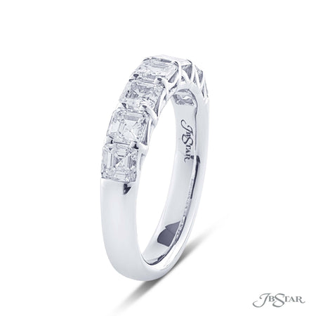 Dazzling diamond wedding band featuring 7 perfectly matched radiant cut diamonds in a shared prong setting. Handcrafted in pure platinum. [details] Stone Information SHAPE TYPE WEIGHT Radiant Diamond 1.51 ctw. [enddetails] | JB Star 5276-002 Anniversary & Wedding