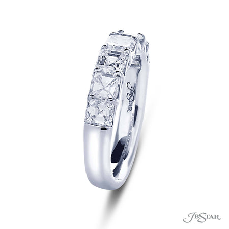 Dazzling diamond wedding band featuring 7 square emerald cut diamonds in a shared prong setting. Handcrafted in pure platinum. [details] Stone Information SHAPE TYPE WEIGHT Square Emerald Diamond 2.10 ctw. [enddetails] | JB Star 5278-001 Anniversary & Wedding