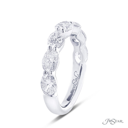 Gorgeous diamond wedding band featuring 7 perfectly matched oval diamonds in a shared prong setting. Handcrafted in pure platinum. [details] Stone Information SHAPE TYPE WEIGHT Oval Diamond 2.65 ctw. [enddetails] | JB Star 5285-001 Anniversary & Wedding