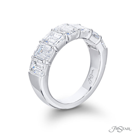 Beautiful diamond wedding band featuring 7 GIA certified emerald cut diamonds in a shared prong setting. Handcrafted in pure platinum. [details] Center Stone(s) SHAPE TYPE WEIGHT COLOR CLARITY Emerald Diamond 3.86 ctw. D-F VS1 Notes: GIA [enddetails] | JB Star 5290-005 Anniversary & Wedding