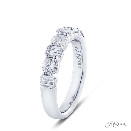 Dazzling diamond wedding band featuring 4 emerald cut and 3 round diamonds in an alternating shared prong design. Handcrafted in pure platinum. [details] Stone Information SHAPE TYPE WEIGHT Emerald Round Diamond Diamond 0.70 ctw. 0.60 ctw. [enddetails] | JB Star 5291-001 Anniversary & Wedding