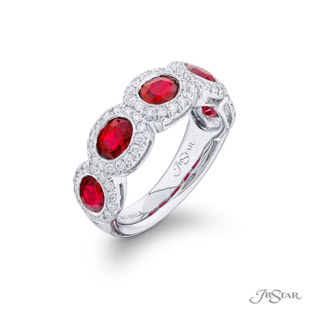 5298-003 | Ruby & Diamond Band 2.61 ctw. Oval Micro Pave Bezel Setting Side View