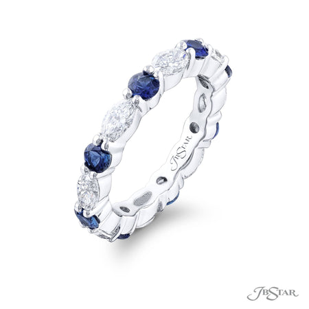 5301-002 | Sapphire & Diamond Eternity Band Marquise & Round 1.07 ctw. Side View