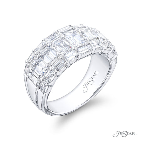 5302-005 | Diamond Wedding Band 3 Rows of Emerald Cut Shared Prong Side View
