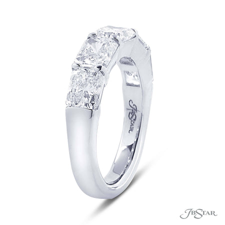 Beautiful diamond wedding band featuring 5 radiant cut diamonds in a shared prong setting. Handcrafted in pure platinum. [details] Stone Information SHAPE TYPE WEIGHT Radiant Diamond 3.76 ctw. [enddetails] | JB Star 5310-001 Anniversary & Wedding