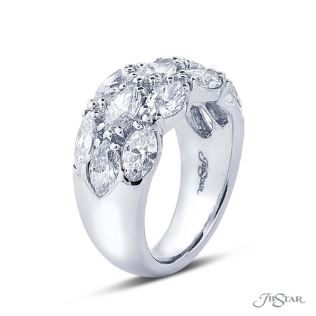 Dazzling diamond wedding band featuring 2 rows of oval diamonds in an east to west design. Handcrafted in a shared prong, pure platinum setting. [details] Stone Information SHAPE TYPE WEIGHT Oval Diamond 3.47 ctw. [enddetails] | JB Star 5316-001 Anniversary & Wedding
