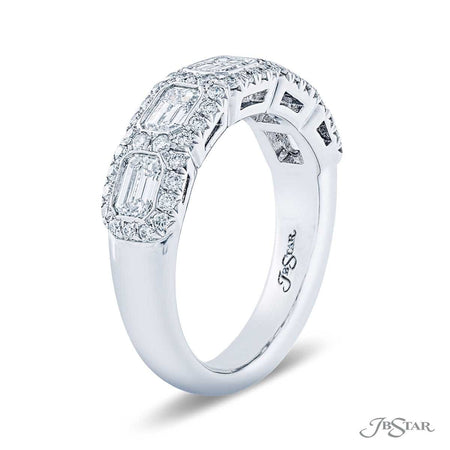 Gorgeous diamond wedding band featuring 5 emerald-cut diamonds in an east to west bezel design. Handcrafted in pure platinum. [details] Stone Information SHAPE TYPE WEIGHT Emerald Diamond 1.32 ctw. Round Diamond 0.38 ctw. [enddetails] | JB Star 5319-002 Anniversary & Wedding